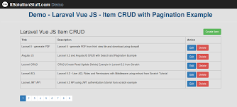 Javascript Tutorial Demo | laravel 5 and vue js crud with pagination exle and demo from scratch
