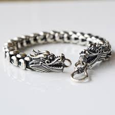 dragon bracelet silver images Solid 925 sterling silver men bracelet chinese dragon heads with s jpg