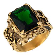 black opal mens ring emerald gold vintage men ring atperrys