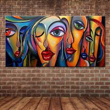 online get cheap wall murals painting aliexpress com alibaba group modern pop art sexy women s faces oil painting people portrait canvas art wall mural poster for