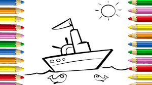 how to draw boat coloring pages for kids art colors for children