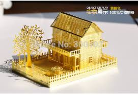 architectural model kits metal diy 3d mini villa decoration assembling building architectural
