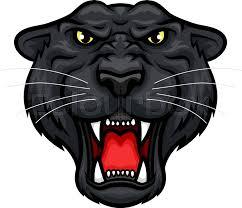 black panther vector mascot icon roaring jaguar or leopard large
