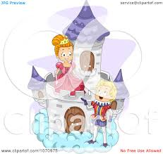 clipart fairy tale prince talking to a princess on a cloud castle