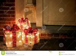 outdoor lighted gift boxes lighted decorated christmas gifts boxes at doorway stock image