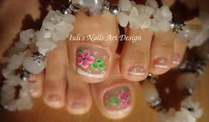 toes art design french pedicure beautiful flower spring summer