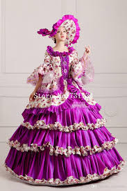 Marie Antoinette Halloween Costume Purple Floral Printed Multi Layer Princess Rococo Marie