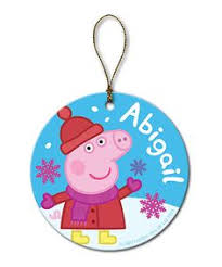 peppa pig inspired tree ornament by craftymamipig