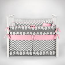 Pink And Gray Crib Bedding Elephant Chevron Zig Zag Gray Pink Baby Bedding