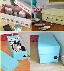 phone charger organizer shoe box charging cord organizer diy cozy home