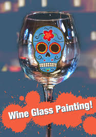 sugar skull wine glass painting 2 glasses person unwined