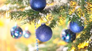 blue balls on tree new year decoration stock