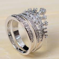 crown wedding rings sz 5 10 top 925 sterling silver filled zirconia cz crown princess