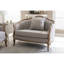 baxton studio corneille french country weathered oak beige linen