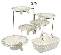 7pc ceramic serving set with 4 tiered buffet stand by valerie