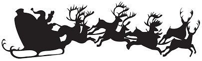 christmas silhouette santa claus with sleigh png clip art