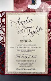 wedding invitations burgundy burgundy navy gold laser cut wedding invitation package