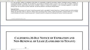 california 30 day notice of expiration and non renewal of lease