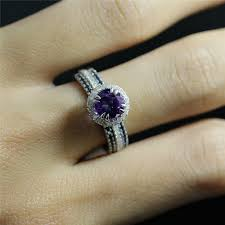 amethyst engagement ring sets 6 5mm amethyst engagement ring and two sapphire anniversary