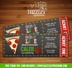 printable chalkboard pizza party ticket birthday invitation
