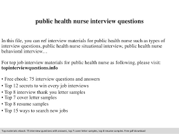 Public Health Resume Sample by Public Health Nurse Interview Questions
