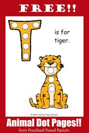 free letter t animal alphabet dots printable preschool powol