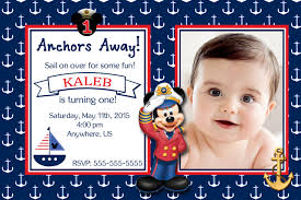 Mickey Mouse Invitation Cards Nautical Birthday Invitations Birthday Invitations