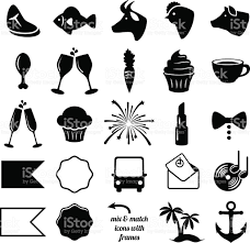 party bus clipart vector collection of wedding and party themed icons stock vector