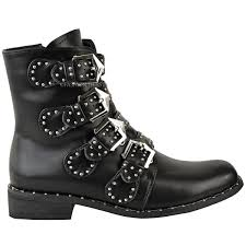 ladies motorcycle riding boots new womens ladies studded buckle ankle boots chelsea biker punk