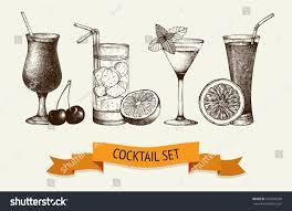 cocktail illustration vector set vintage cocktails berries fruits stock vector 201689348