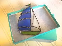 sailboat home decor stained glass sailboat suncatcher home decor sailor birthday gift