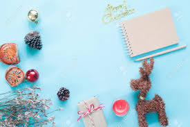creative flat lay of craft notebook ornaments and stock