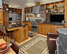 Hickory Wood Kitchen Cabinets Hickory Cabinets With Black Harware Red Walls Very Similar To