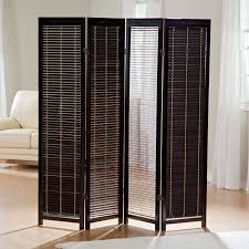 tranquility wooden 4 panel shutter screen room divider in black