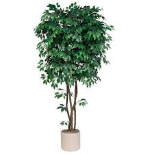 7 5 foot artificial deluxe ficus tree with trunks potted