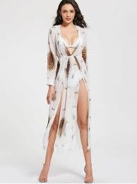 club dresses leopard print high slit chiffon maxi club dress white club