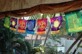 Flag With Tree And Moon Cosmic Harmony Prayer Flag Flower Of Life Sun And Moon Celtic