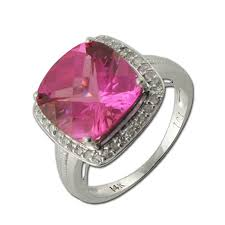 lab created engagement ring and lab created pink sapphire engagement ring