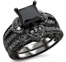 black wedding sets 2 27ct black princess cut diamond heart engagement ring wedding