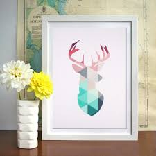 aliexpress com buy diy geometric coral deer head canvas art
