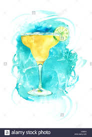 margarita illustration a watercolour drawing of a margarita cocktail with a slice of lime