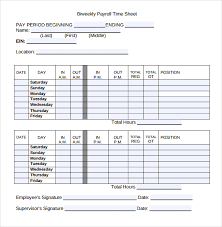 Free Timesheet Template Excel 12 Payroll Timesheet Templates Free Sle Exle Format