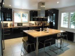 ilot cuisine cuisine noir bois indogatecom photos cuisine blanche grise with