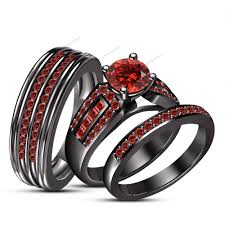 black wedding sets garnet trio 14k black gold wedding ring set bridal his and