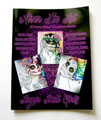 16 page black and white coloring book sugar skull