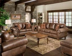 Large Brown Leather Sofa Living Room Furniture Classic Living Room With Brown Leather