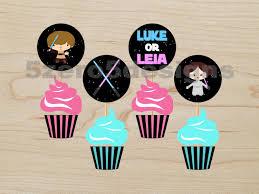 Star Wars Room Decor Etsy by Gender Reveal Cupcake Toppers Star Wars Gender Reveal Party Star