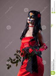 sugar halloween costume sugar skull in red evening dress royalty free stock