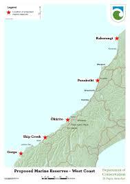 Map Of West Coast West Coast Marine Reserves Consultations