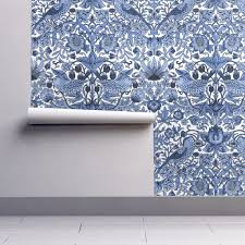 william morris strawberry thief blue and white wallpaper